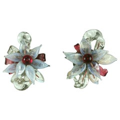 Louis Rousselet Large Flower Head Earclips