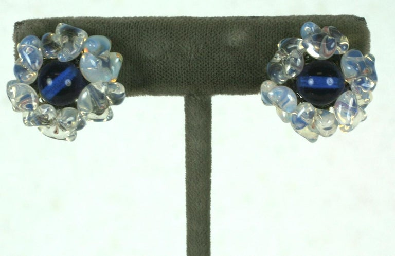 Romantic Louis Rousselet Sapphire and Opaline Earclips For Sale