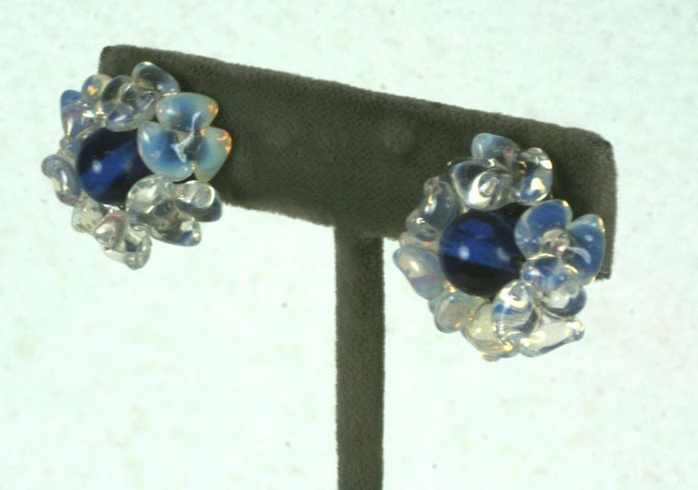 Louis Rousselet Sapphire and Opaline Earclips In Excellent Condition For Sale In Riverdale, NY