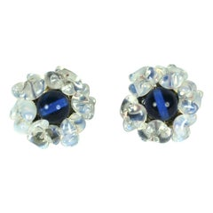 Louis Rousselet Sapphire and Opaline Earclips