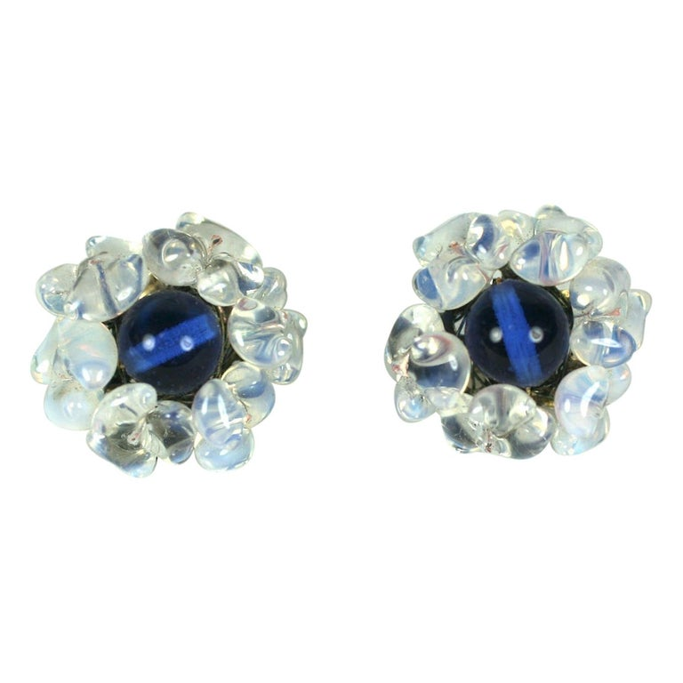 Louis Rousselet Sapphire and Opaline Earclips For Sale