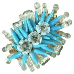 Louis Rousselet Turquoise and Opal Bouquet Brooch