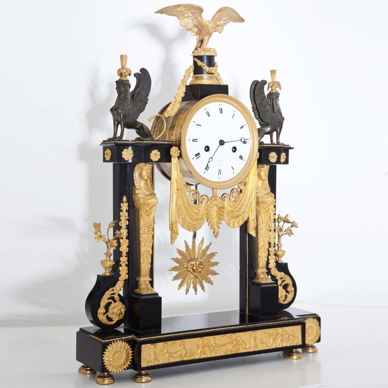 French Louis Seize Portal Pendule, France, Late 18th Century
