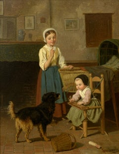 """""""In the Kitchen,"""" Louis Lassalle, Realist oil on panel, a young family and dog"""