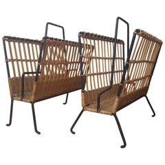 Louis Sognot Pair of Iron and Wicker Magazine Rack, French, 1950s