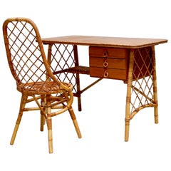 Louis Sognot Rattan and Wood Desk Set
