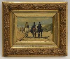 Riders to the beach - Louis Soonius Dutch Impressionist Realist Horses Coast
