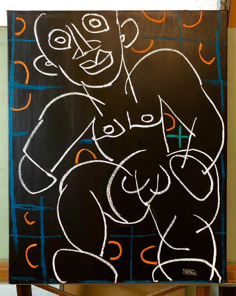 Rare Modernist Oil Painting Line Drawing Nude Man Louis Stettner For Sale 3