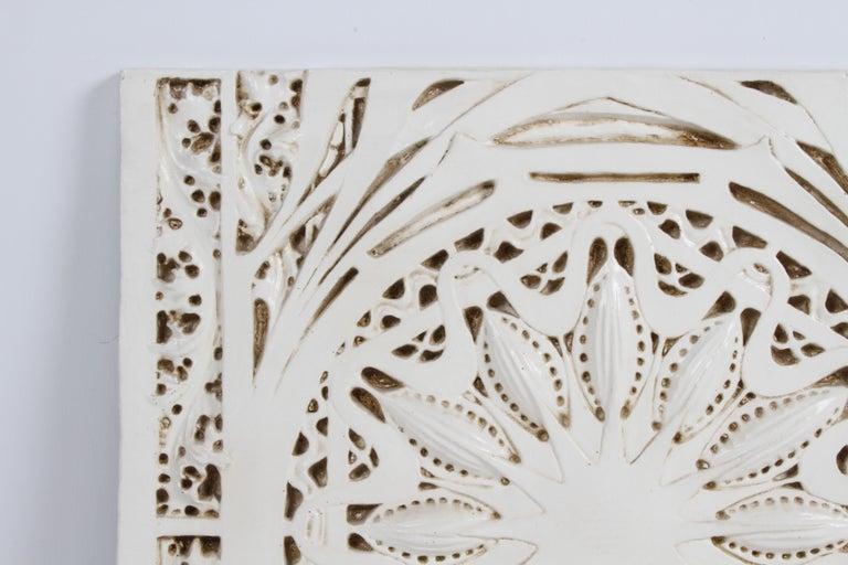 Vintage replica of a Louis Sullivan designed off white glazed plaster architectural frieze
