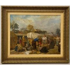 "Louis (Lajos) Szanto ""Market Scene"" Original Oil Painting c.1930s"