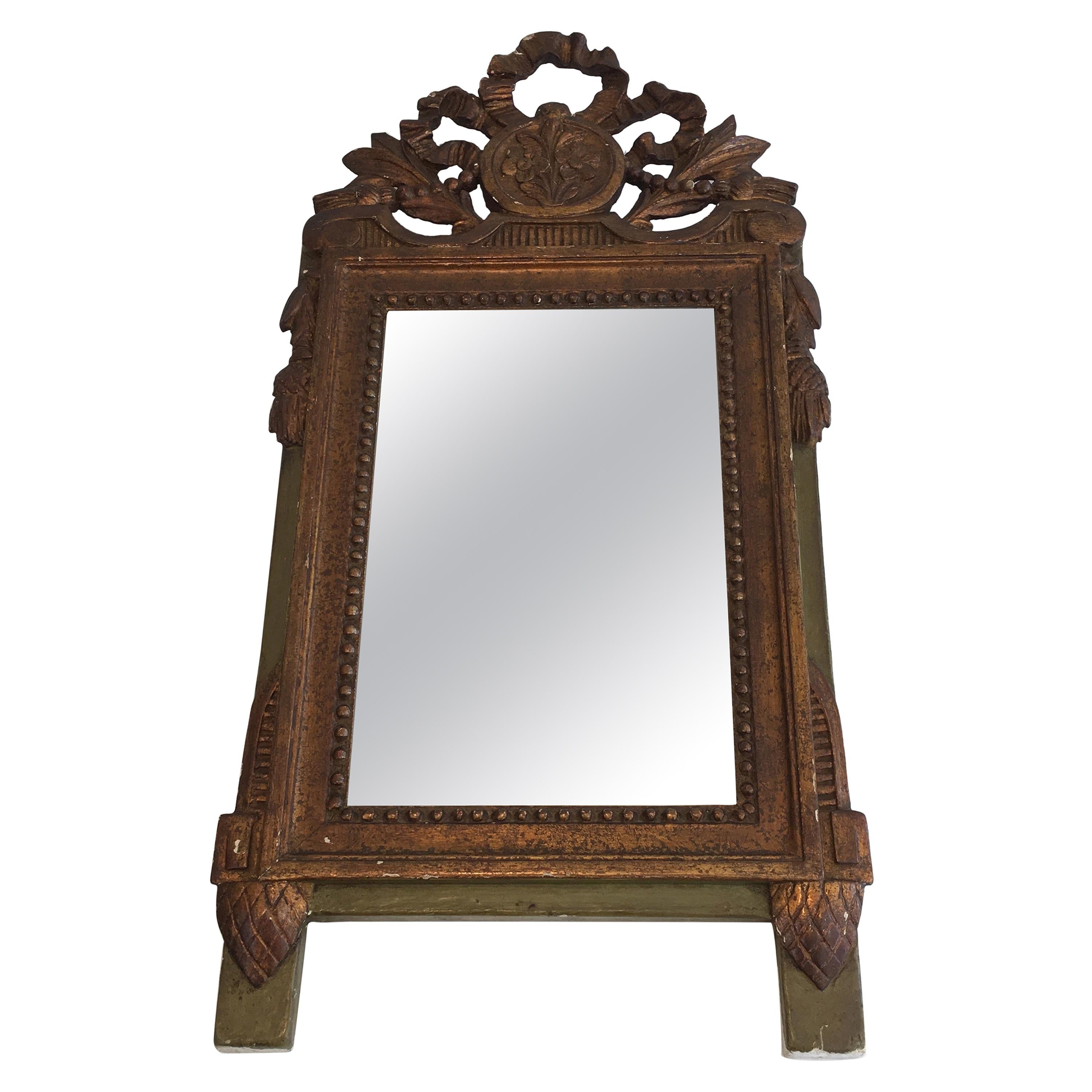 Louis the xvi Style Gilt and Painted Wood Mirror, French, 19th Century