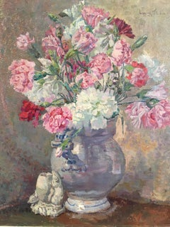Carnations, Bouquet of Flowers, Floral Oil Painting, Signed