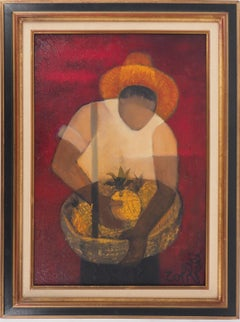 Brasil : Man with Pineapple - Original oil  on canvas painting - Signed