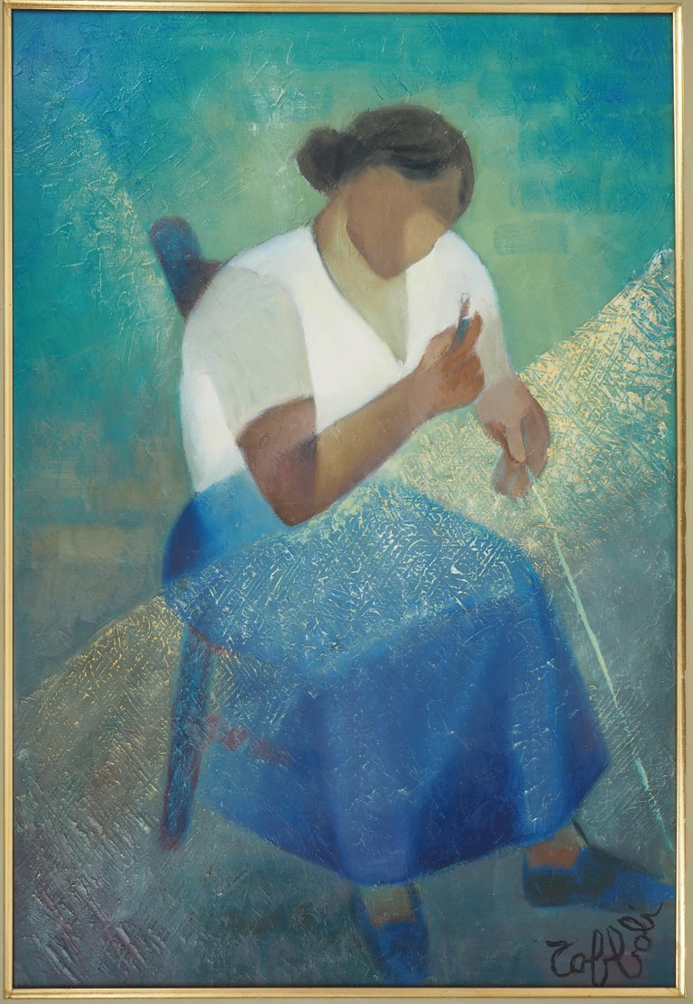 Fisherman's Wife - Original oil  on canvas painting - Signed - Modern Painting by Louis Toffoli