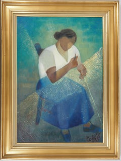 Fisherman's Wife - Original oil  on canvas painting - Signed