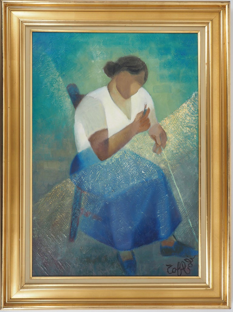 Louis Toffoli Figurative Painting - Fisherman's Wife - Original oil  on canvas painting - Signed