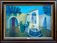 Peru : Quiet Square - Original oil  on canvas painting - Signed
