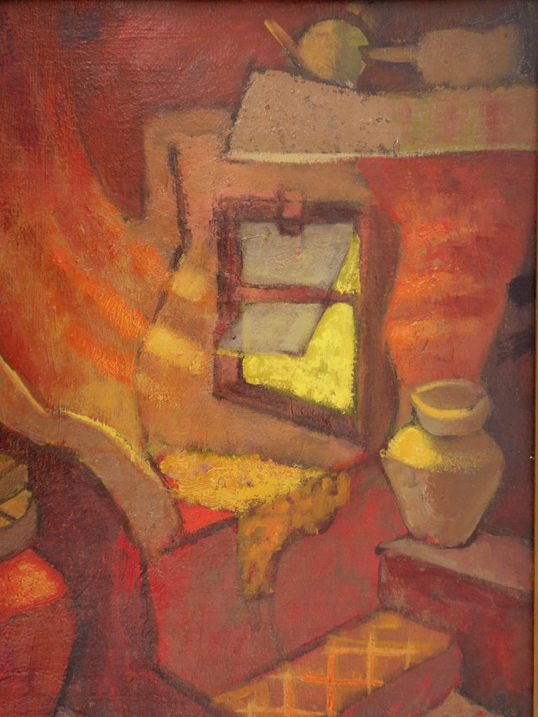 Small Orange Room in Italy - Original oil painting - Signed For Sale 6