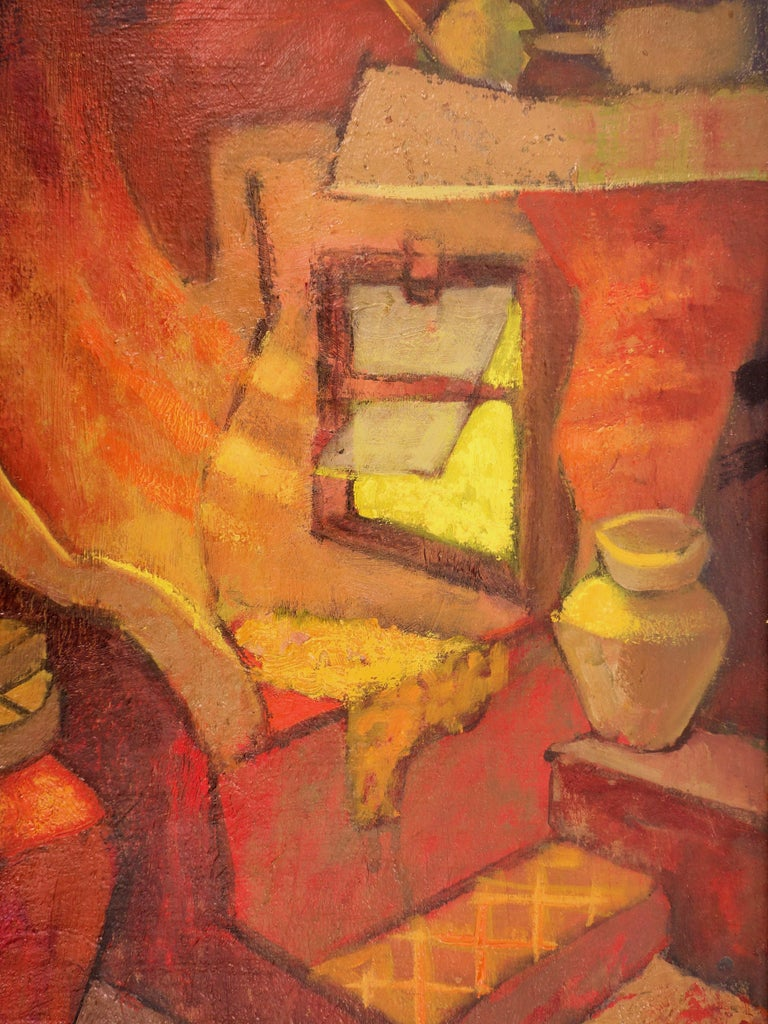 Small Orange Room in Italy - Original oil painting - Signed For Sale 7