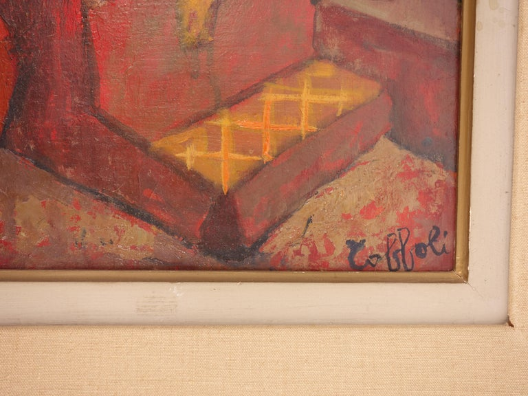 Small Orange Room in Italy - Original oil painting - Signed - Painting by Louis Toffoli