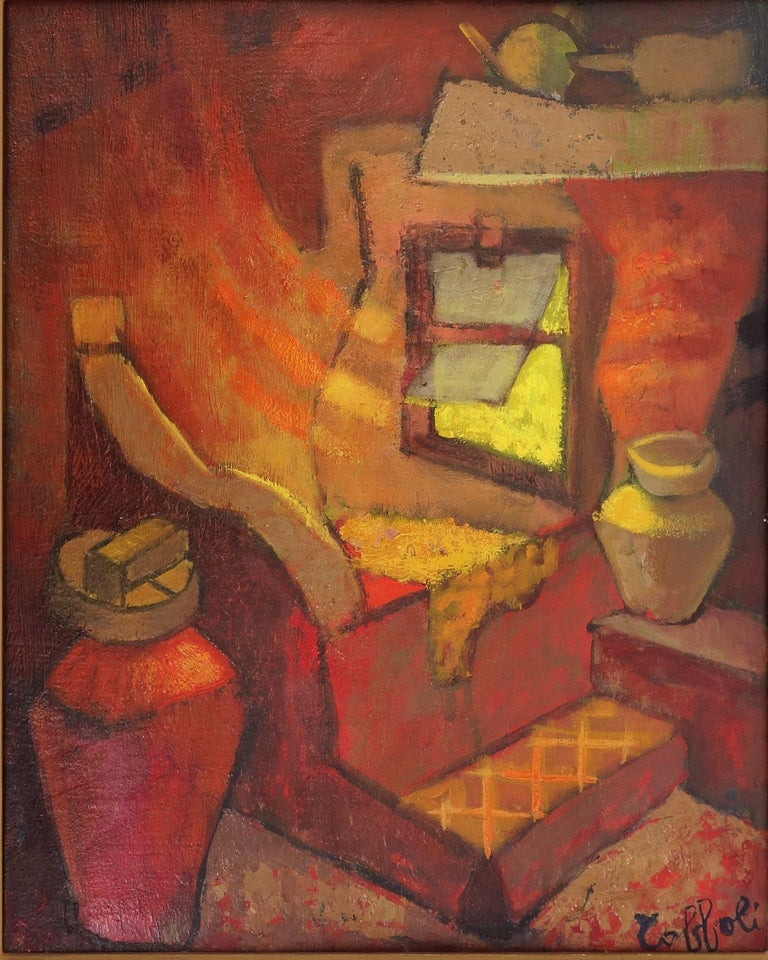Small Orange Room in Italy - Original oil painting - Signed - Modern Painting by Louis Toffoli