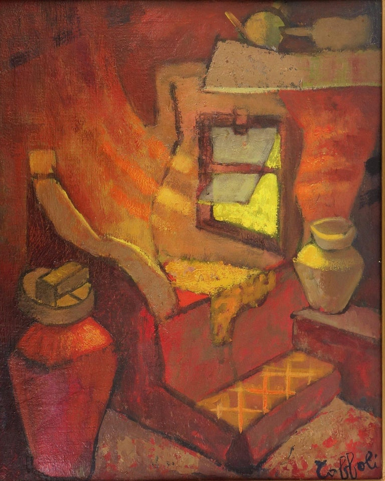 Louis Toffoli (1907-1999) Small Orange Room in Italy  Original oil painting on panel Signed bottom right On canvas 41 x 31 cm (c. 16 x 12 inch) Presented in a golden wood frame 62 x 54 cm (c. 25 x 22 inch)   Excellent condition, light uses to the