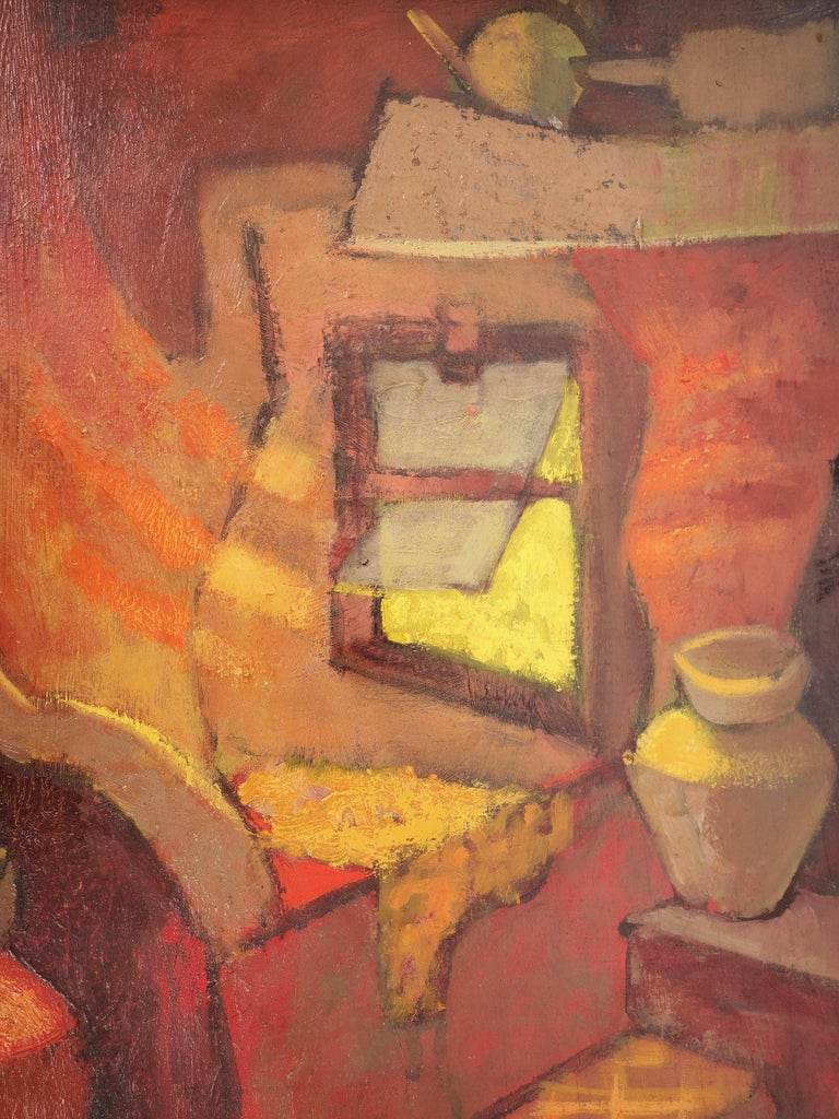Small Orange Room in Italy - Original oil painting - Signed For Sale 1