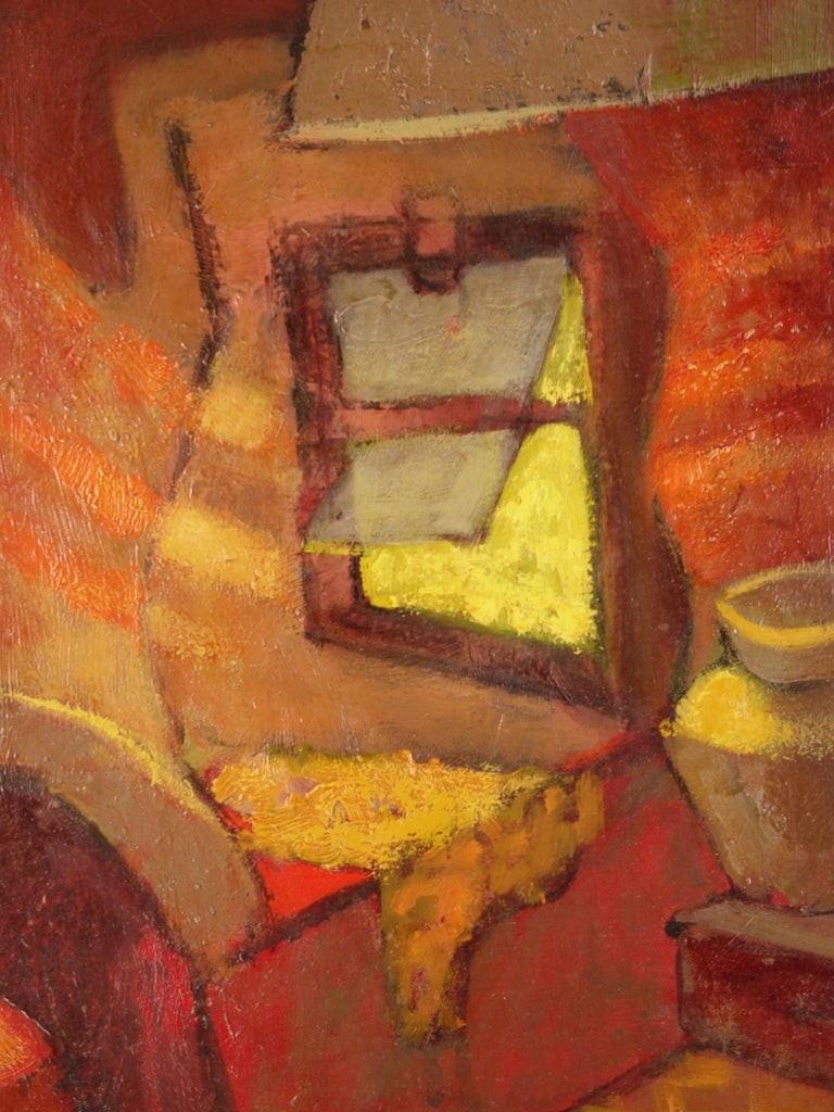 Small Orange Room in Italy - Original oil painting - Signed For Sale 2