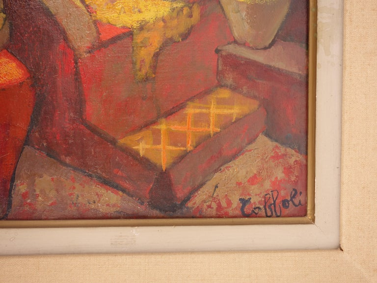 Small Orange Room in Italy - Original oil painting - Signed For Sale 3