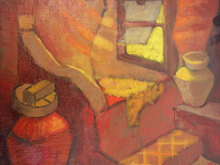 Small Orange Room in Italy - Original oil painting - Signed For Sale 4