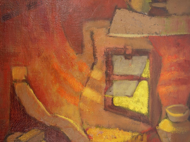 Small Orange Room in Italy - Original oil painting - Signed For Sale 5