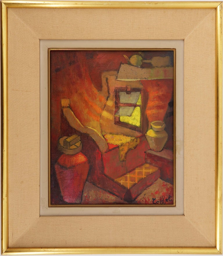 Louis Toffoli Interior Painting - Small Orange Room in Italy - Original oil painting - Signed