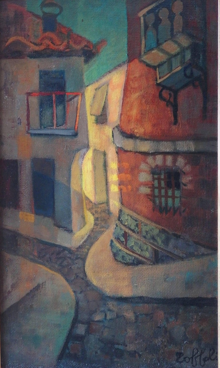 Spain, Aragon : Old Street of Ibdes - Original oil painting - Signed - Modern Painting by Louis Toffoli