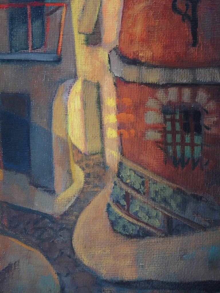 Spain, Aragon : Old Street of Ibdes - Original oil painting - Signed - Brown Figurative Painting by Louis Toffoli