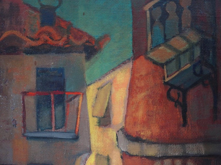 Louis Toffoli (1907-1999) Spain, Aragon : Old Street of Ibdes  Original oil painting Signed bottom right On board 55 x 33 cm (c. 22 x 13 inch) Presented in a golden wood frame 71 x 53 cm (c. 28 x 21 inch)  Signed on the back  REFERENCE : Oiginal