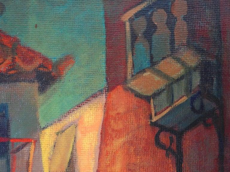 Spain, Aragon : Old Street of Ibdes - Original oil painting - Signed For Sale 1