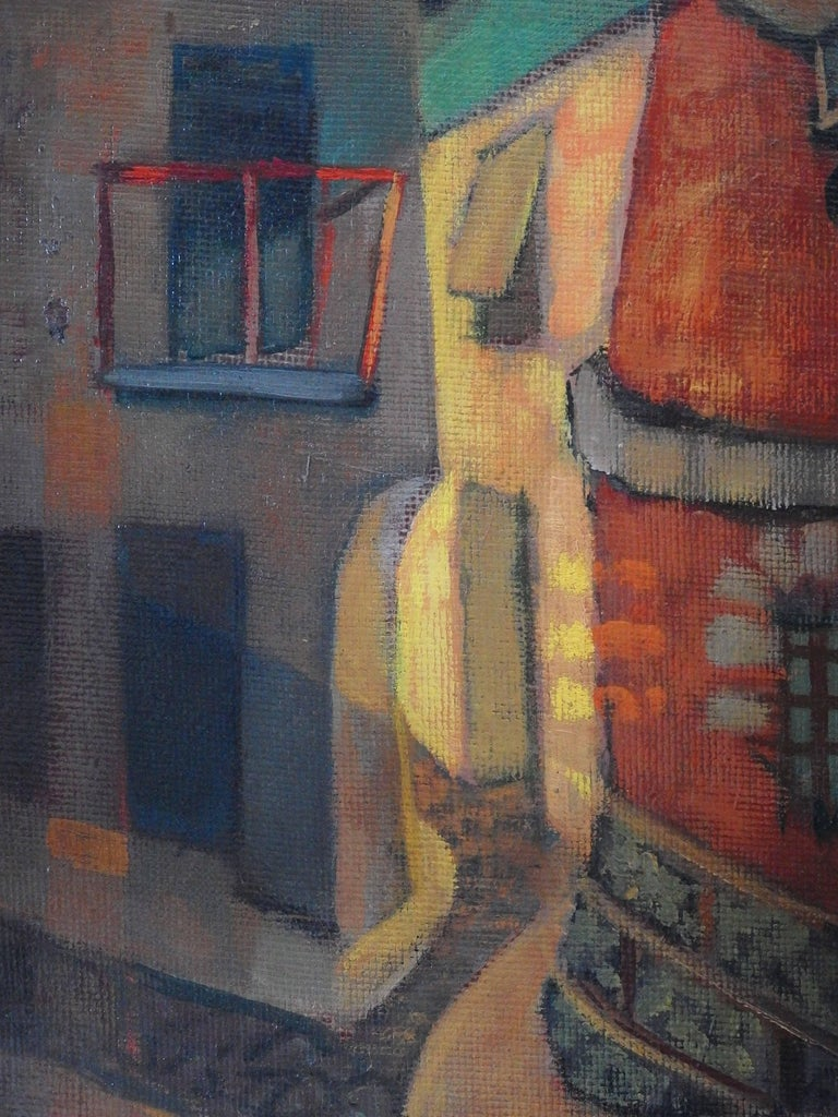 Spain, Aragon : Old Street of Ibdes - Original oil painting - Signed For Sale 2