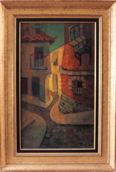 Spain, Aragon : Old Street of Ibdes - Original oil painting - Signed