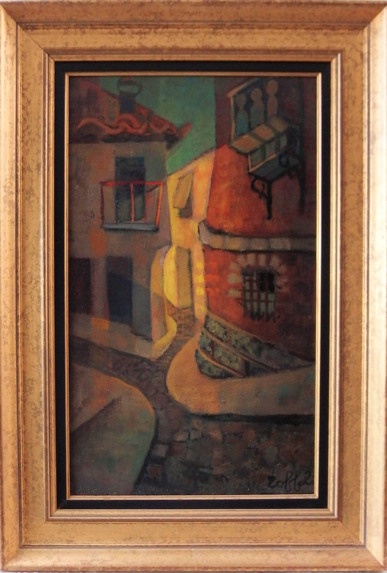 Louis Toffoli Figurative Painting - Spain, Aragon : Old Street of Ibdes - Original oil painting - Signed