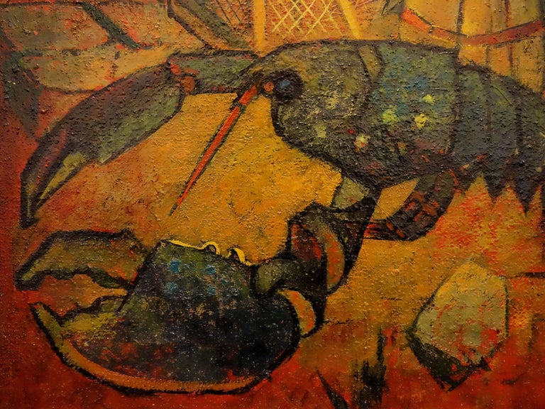 American Lobster - Original oil painting - Signed - Modern Painting by Louis Toffoli
