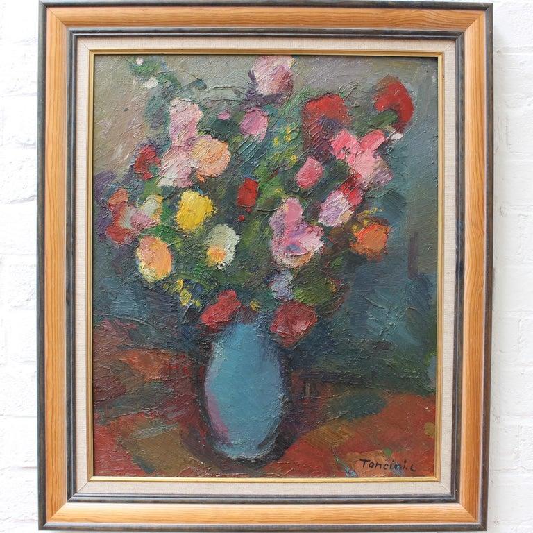 Bouquet de Fleurs au Vase Bleu - Painting by Louis Toncini