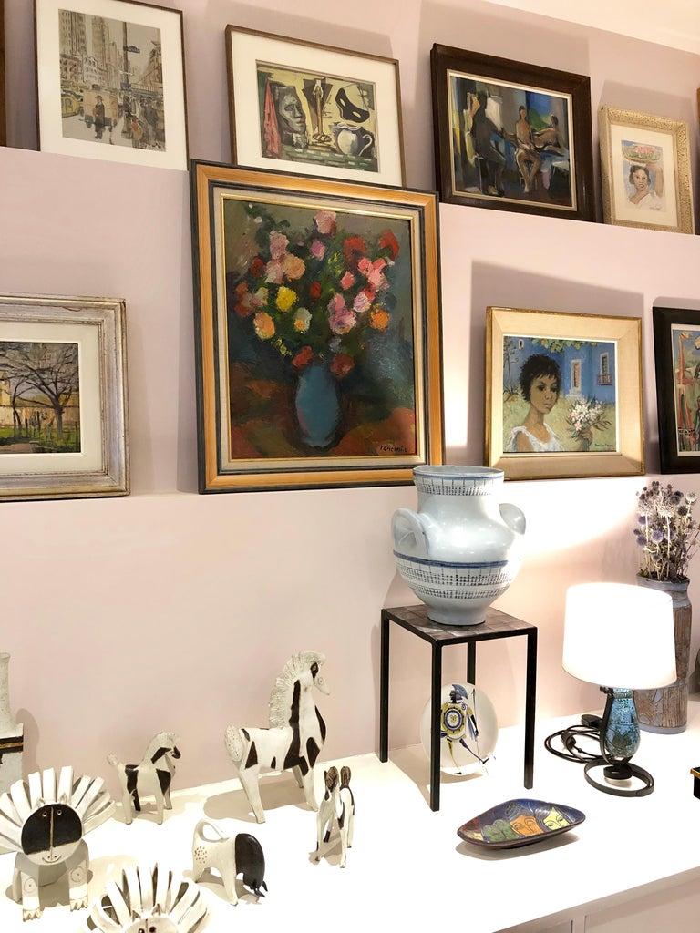Bouquet de Fleurs au Vase Bleu - Modern Painting by Louis Toncini