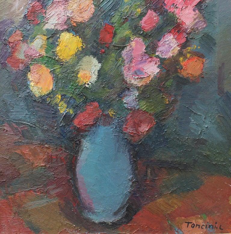Bouquet de Fleurs au Vase Bleu - Gray Still-Life Painting by Louis Toncini