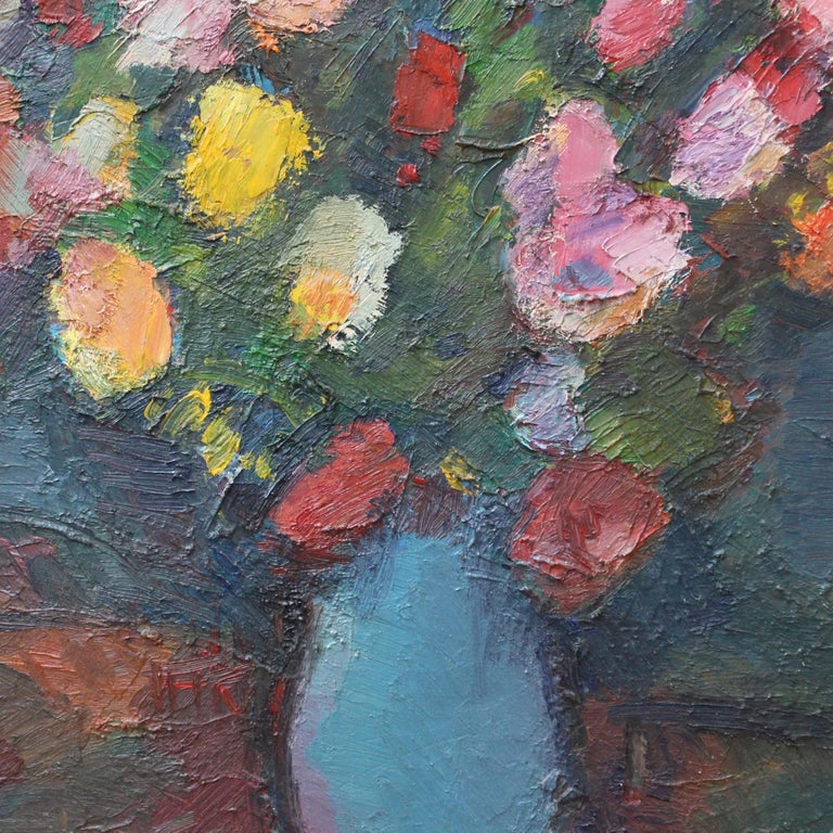 'Bouquet de Fleurs au Vase Bleu', oil on board, by Louis Toncini (1982). Painted towards the end of his career, this piece belongs to that part of his body of work which was lighthearted, optimistic and pleasing. It is a stunning still life