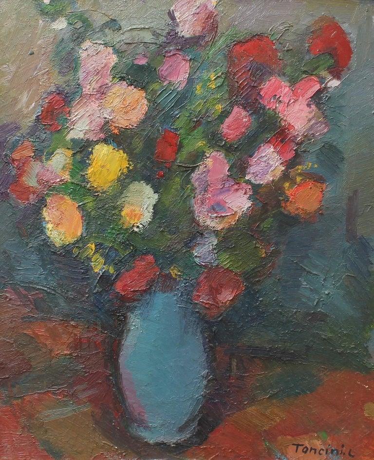 Louis Toncini Still-Life Painting - Bouquet de Fleurs au Vase Bleu