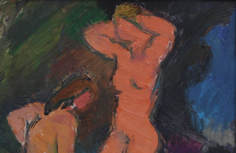'Three Nude Women' by Louis Toncini, French Mid-Century Modern Oil Painting For Sale 3
