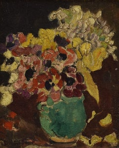 Bouque de fleurs au vase vert - French Artist Still-life Oil Canvas Flowers