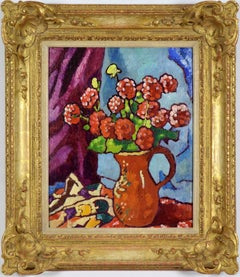 Fleurs Rouges à la Cruche Brune by LOUIS VALTAT - Still life painting, Flowers