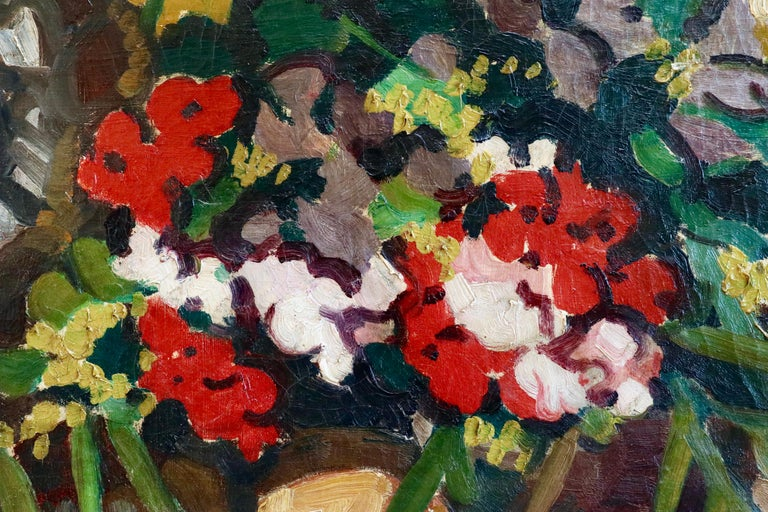 Flowers - 19th Century Oil, Still Life of Flowers & Statue by Louis Valtat For Sale 2