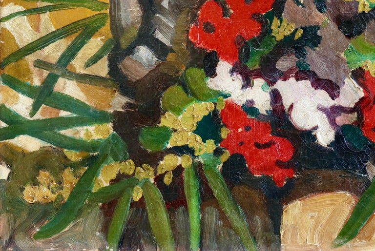 Flowers - 19th Century Oil, Still Life of Flowers & Statue by Louis Valtat For Sale 3